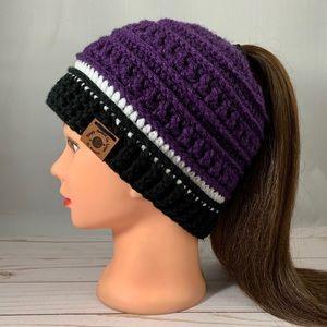 Adult Purple Black & White Ponytail Hat Bun Hat